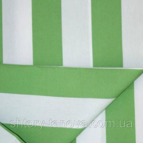 Ткань для шезлонгов, лежаков, зонтов Дралон в крупную полоску молочный/зеленый тефлон