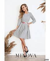 Изящное приталенное платье в мелкий рисунок с юбкой в складку с 42 по 48 размер, фото 1