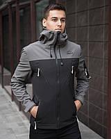 """Спортивная мужская демисезонная куртка Soft Shell """"Король Лев"""" черная с серым"""