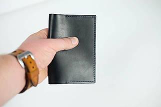 """Обложка для документов """"Модель №12"""" Кожа Итальянский краст цвет Черный, фото 3"""