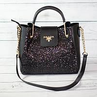 Женскаяmini сумка Prada (Прада), черная с блестками ( код: IBG040B2 )
