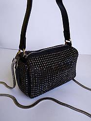 Жіноча шкіряна сумка зі стразами чорна