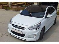 Накладка на бампер передняя для Hyundai Accent, Хюндай Акцент