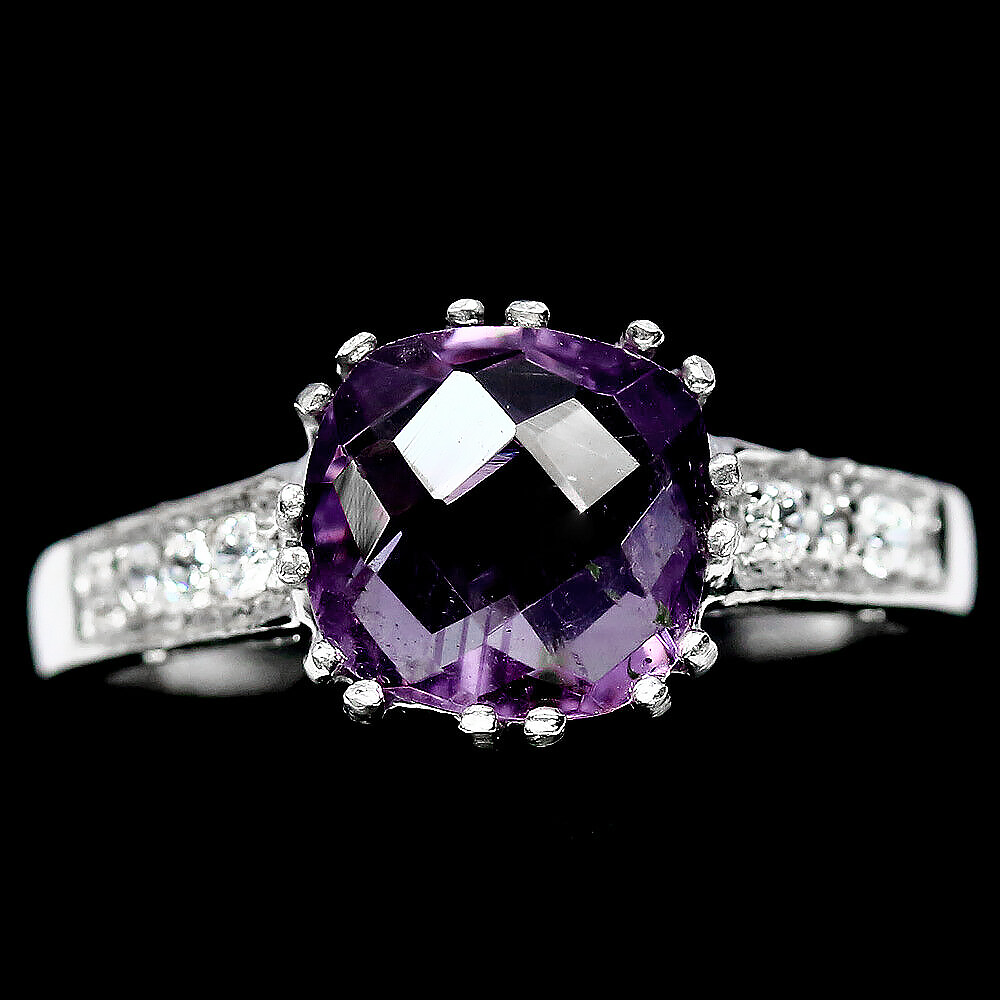Серебряное кольцо с двухцветным аметистом, 8*8 мм., 2008КЦА