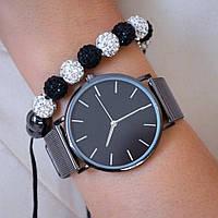 Жіночі годинники Classic steel watch чорні, жіночий наручний годинник, кварцові годинники на ремінці кольчужном