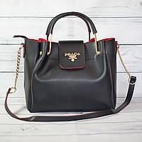 Женскаяmini сумка Prada (Прада), черная с красным ( код: IBG040BR )