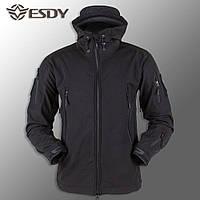 """Куртка Soft Shell """"ESDY - Черная (непромокаемая куртка, тактическая, полицейская)"""
