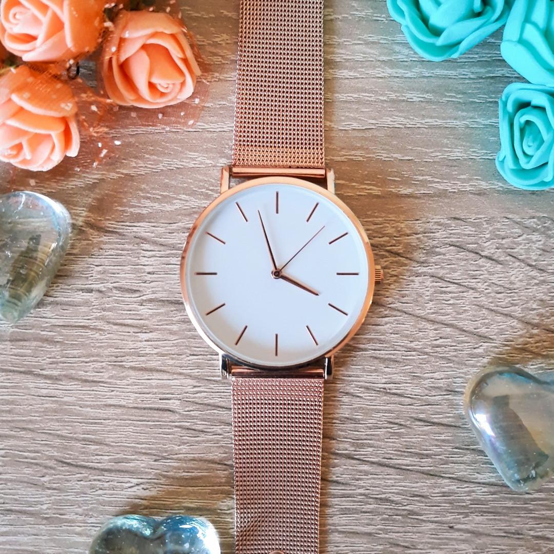 Женские часы Classic steel watch розовое золото, жіночий годинник, кварцевые часы на кольчужном ремешке
