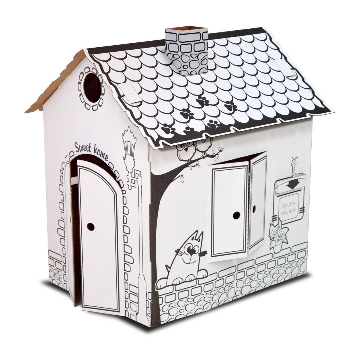 Картонный домик-раскраска(сборной развивающий домик ...