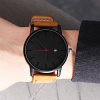 Мужские наручные часы с черным циферблатом и коричневым ремешком, Чоловічий наручний годинник, фото 1