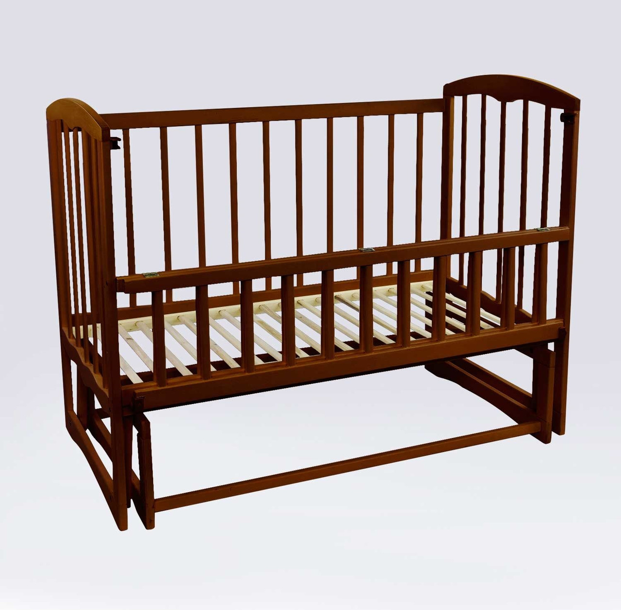 """Кроватка детская """"Спим"""" маятник, откидной борт, ольха 74161"""