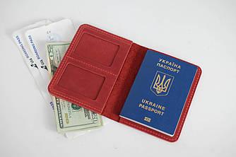 """Обложка для документов """"Медель №14"""" Винтажная кожа цвет Красный"""