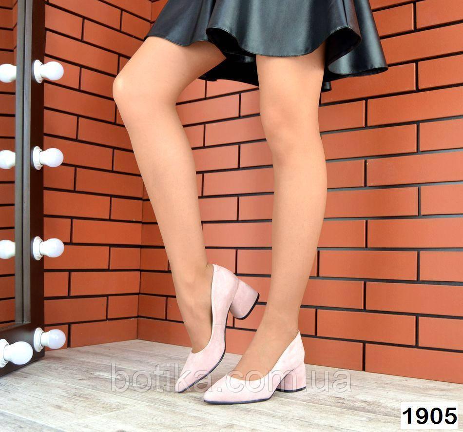 Черные, красные, пудровые элегантные замшевые туфли на каблуке