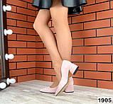 Черные, красные, пудровые элегантные замшевые туфли на каблуке, фото 4