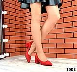 Черные, красные, пудровые элегантные замшевые туфли на каблуке, фото 6