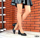 Черные, красные, пудровые элегантные замшевые туфли на каблуке, фото 10