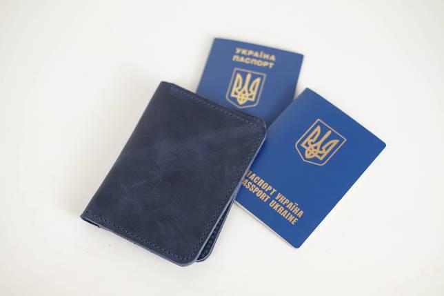 """Обложка для документов """"Модель №14"""" Винтажная кожа цвет Синий, фото 2"""