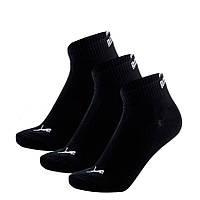 Носки спортивные Puma Quater Socks 3-Pack 271080001 200 (черные, хлопок, средние, 3 пары, бренд пума)