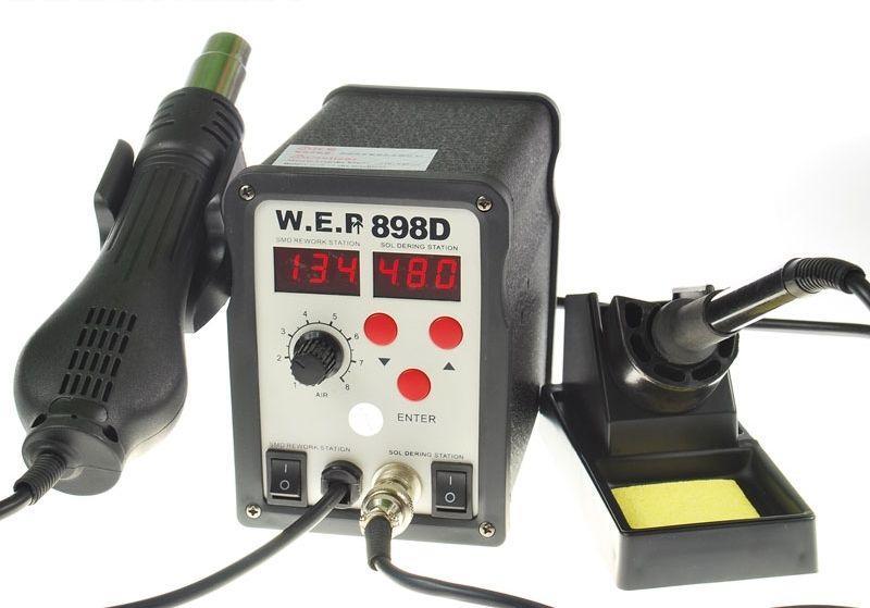 Паяльная станция термовоздушная, турбинная, двухканальная WEP 898D (Фен, паяльник, HAKKO, 900М, 750Вт)