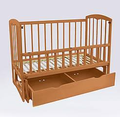 """Кроватка деревян. маятник+шухляда - откидной бортик """"Спим"""" 74157"""