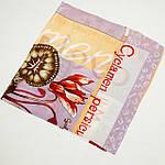 """Павлопосадский платок шелковый  шейный """"Цикламен"""" рис.1271-2  (крепдешин) размер 52х52 см, фото 2"""