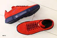 Мужские кроссовки красные с красными шнурками