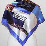 "Платок шелковый (атлас) Павлопосадский ""Нон-стоп"" рис. 1366-13 размер 89х89см., фото 2"