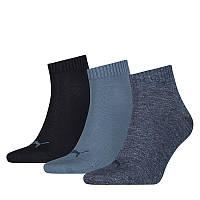 Носки спортивные Puma Quarter Socks 3-Pack 271080001 460 (синие, хлопок, средние, 3 пары, бренд пума)