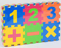 Мягкий коврик пазл Цифры 36 элементов массажный