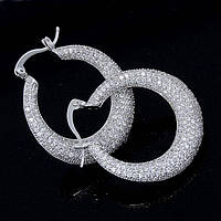 Серьги-кольца - Драгоценный блеск (Серебряные с белым)