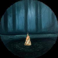 """Картина в интерьер маслом на холсте """"Семейный очаг"""" диаметр 40 см"""