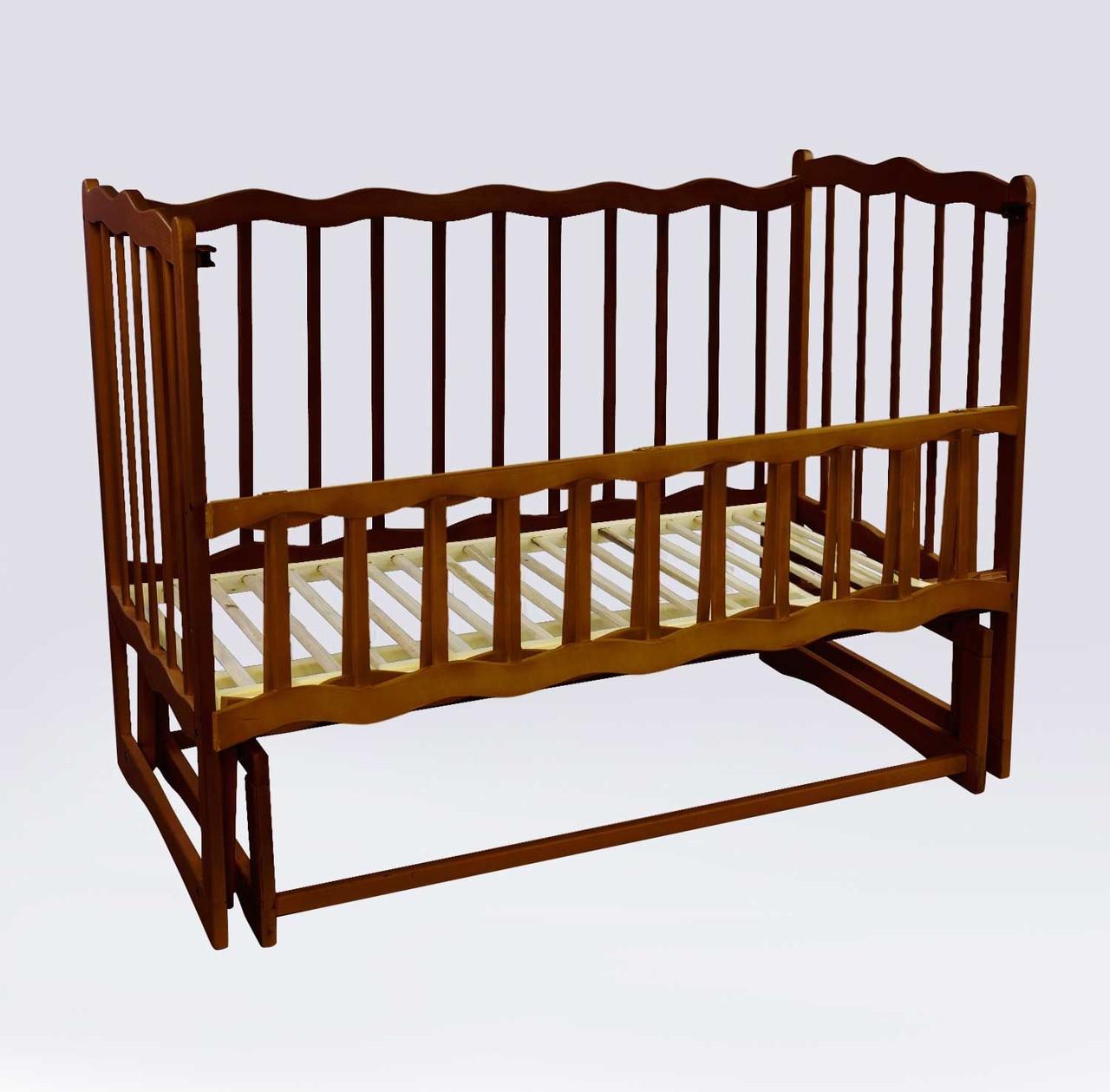 """Кроватка деревян. маятник - откидной бортик """"Волна"""" 74152"""