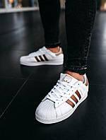 Мужские кроссовки в стиле Adidas Superstar White/Gold