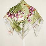 """Платок шелковый Павлопосадский (жаккард) """"Танцующие орхидеи"""" размер 84х84 см. рис.1444-4, фото 5"""