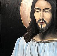 """Картина маслом на религиозную тематику """"Статуя Иисуса"""" 40х40 см"""
