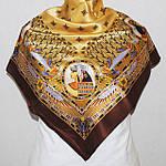 """Платок шелковый (атлас) Павлопосадский """"Скарабей"""" рис. 1252-16 размер 89х89см., фото 2"""