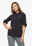 Ніжна ділова жіноча блузка трапецією з рукавом 3/4 і коміром стійкою Modniy Oazis 90387, фото 1