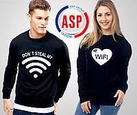 Свитшоты парные для влюбленных с сердцем wi-fi с печатью на заказ логотипов надписей номеров фамилий цифр