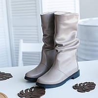 Бежеві підлозі чоботи, фабрична взуття, фото 1