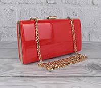 Клатч-бокс сумочка лаковая женская алая 8119-2, фото 1