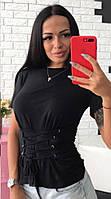 Женская футболка из вискозы со шнуровкой tez51720