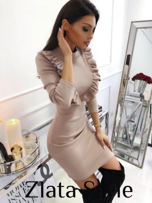Облегающее платье с рюшами