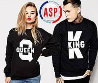 Свитшоты парные для влюбленных King Queen с печатью на заказ логотипов надписей номеров фамилий цифр имен