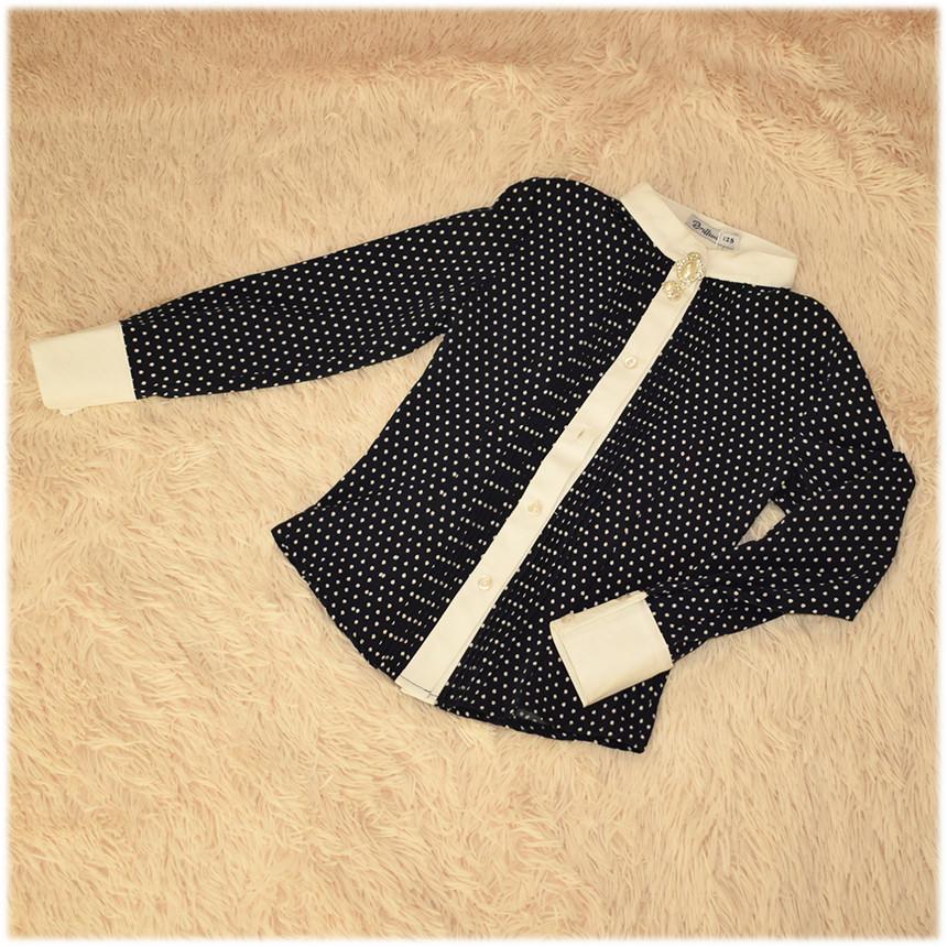 Блуза школьная с длинным рукавом темно-синяя ТМ Newpoint  для девочки размер 122