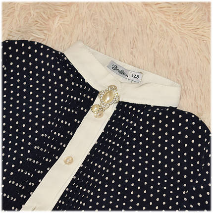 Блуза школьная с длинным рукавом темно-синяя ТМ Newpoint  для девочки размер 122, фото 2