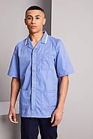 Топ медицинский мужской голубой с белой отделкой, одежда для врача Atteks - 03306