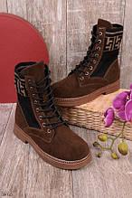 Женские осенние ботинки коричневые эко-замша