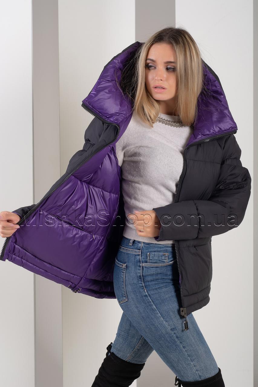 Двусторонняя крутая зимняя куртка чёрный+фиолетовый Button J66-065