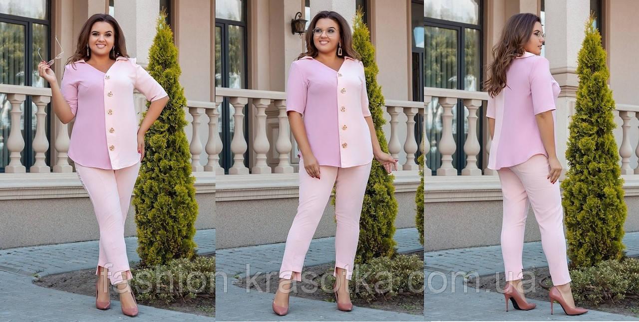 Нарядный женский костюм двойка больших размеров:рубашка и брюки,ткань:американский лен .