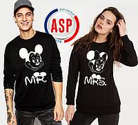 Свитшоты парные для влюбленных Микки Маус Mr Mrs с печатью на заказ надписей номеров фамилий цифр имен